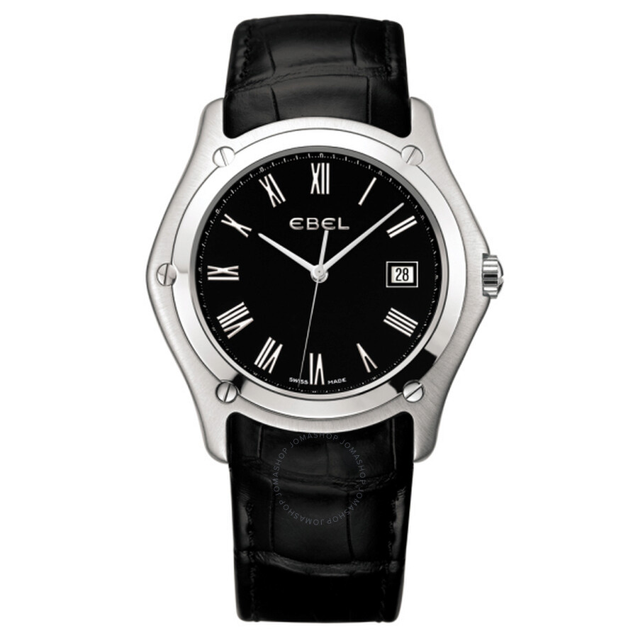 Ebel Classic Gents XL Black Dial Black Alligator Leather Mens Quartz Watch 1215800