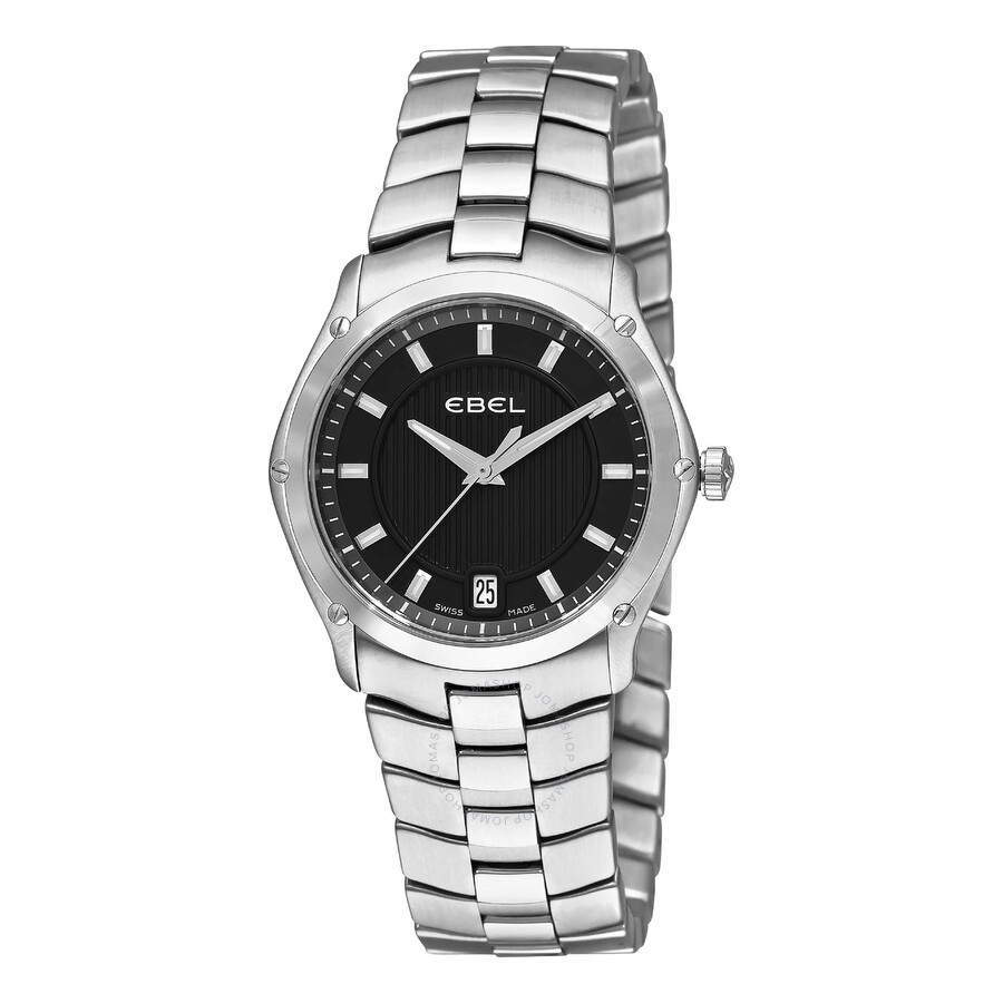 Ebel Classic Sport Grande Black Dial Stainless Steel Ladies Watch 1216016