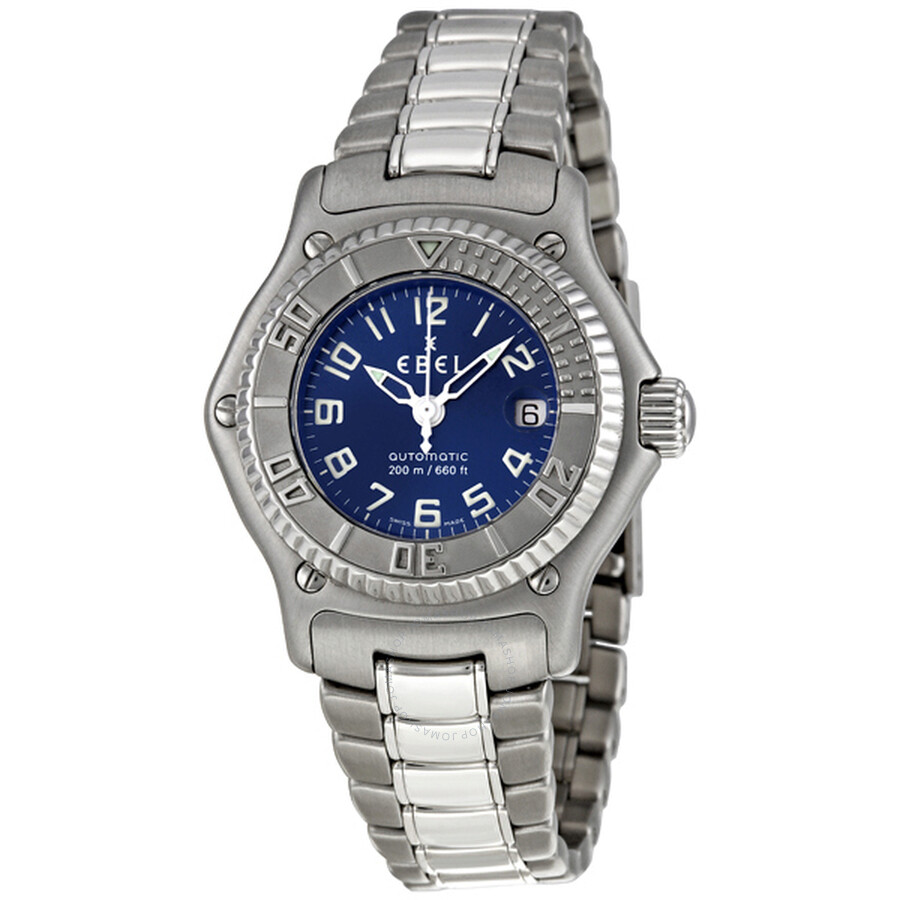 Ebel Discovery Blue Dial Automatic Stainless Steel Ladies Watch 9172321/4665P