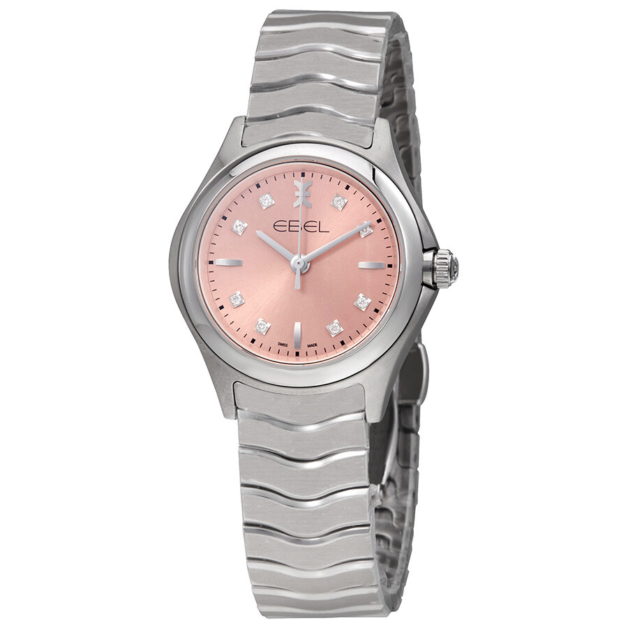 Ebel Wave Pink Galvanic Dial Diamond Ladies Watch 1216217 - Wave ...