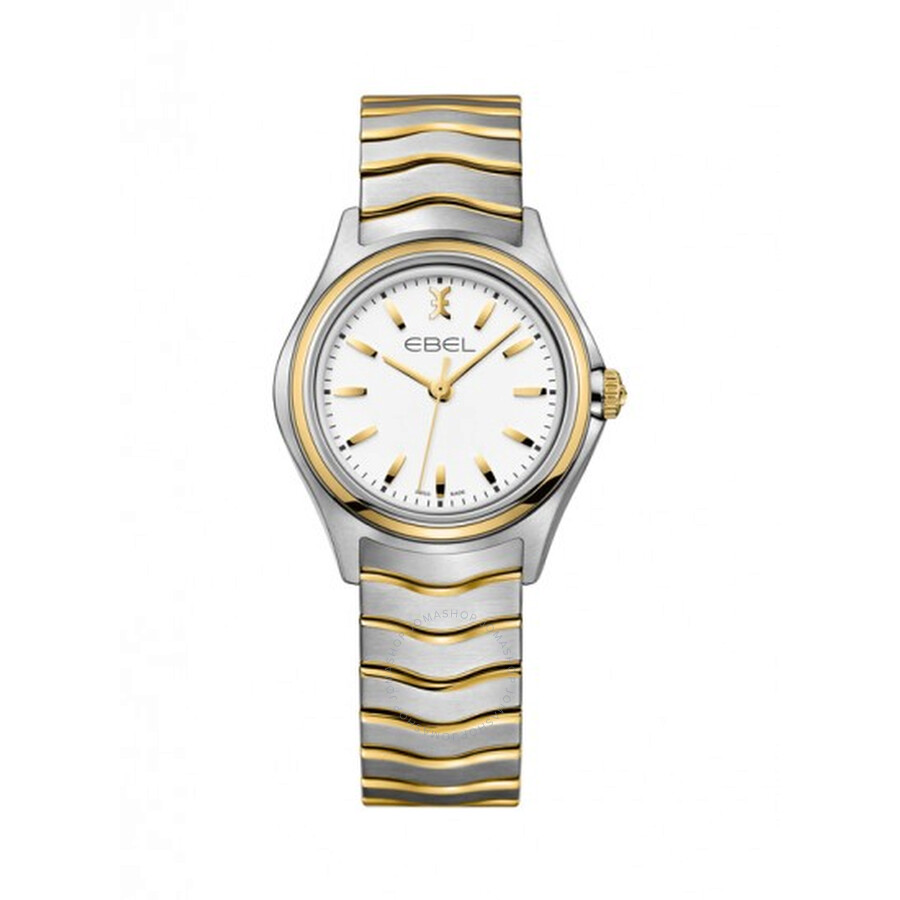 Ebel Wave White Dial Two-Tone Stainless Steel Ladies Quartz Watch 1216196