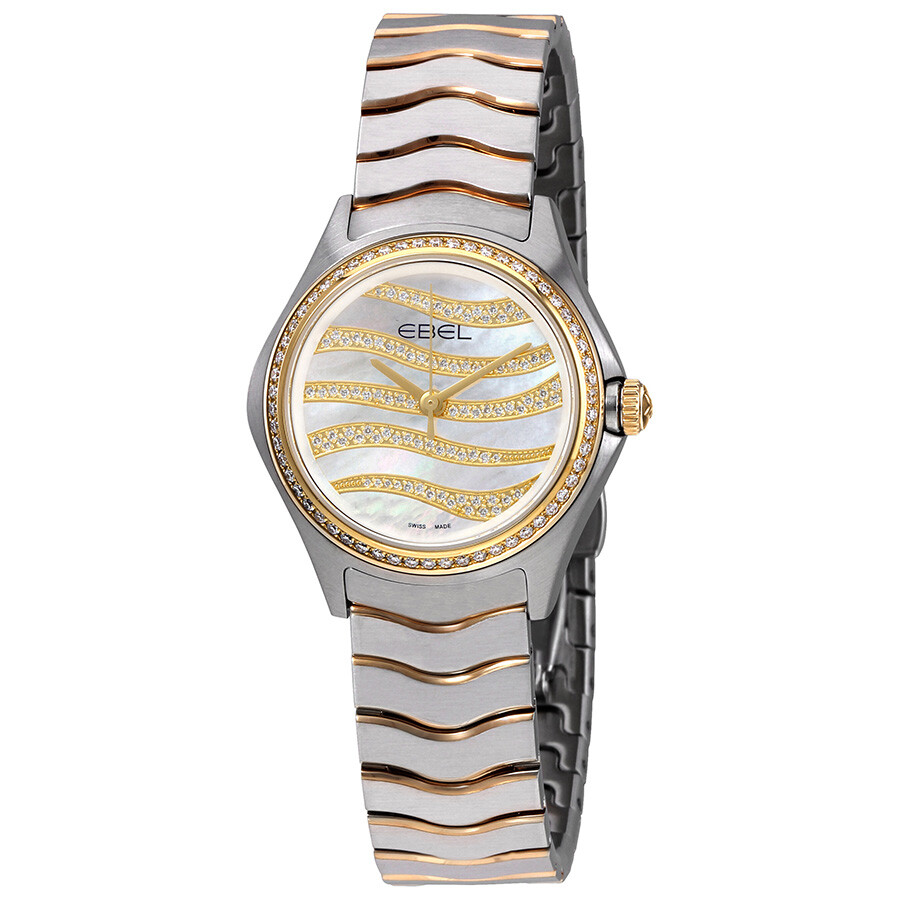 Ebel Wave White Mother Of Pearl Diamond Dial Ladies 18K Yellow Gold Watch 12..