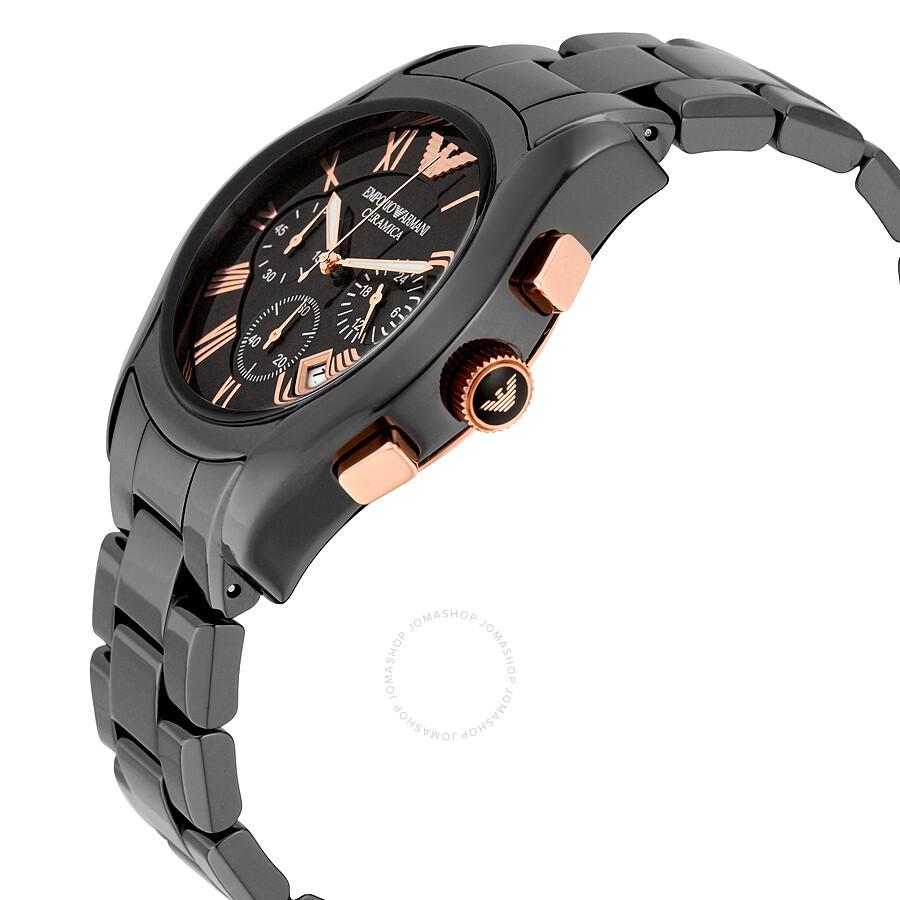 Emporio armani ceramica chronograph black dial men 39 s watch ar1410 emporio armani watches for Ceramica chronograph