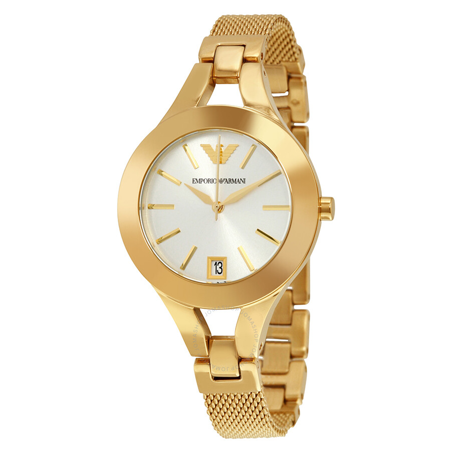 Emporio Armani Chiara Silver Dial Gold- tone Stainless Steel Ladies Watch AR7399