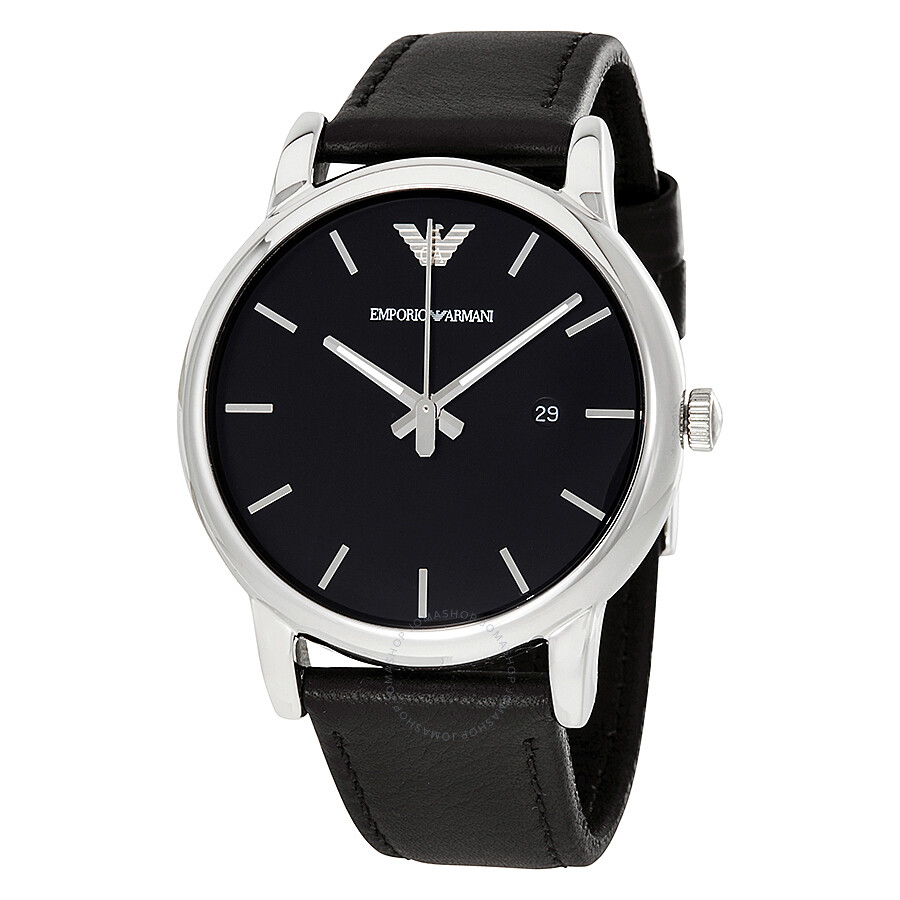 Emporio Armani Classic Black Dial Black Leather Strap Mens Watch Ar