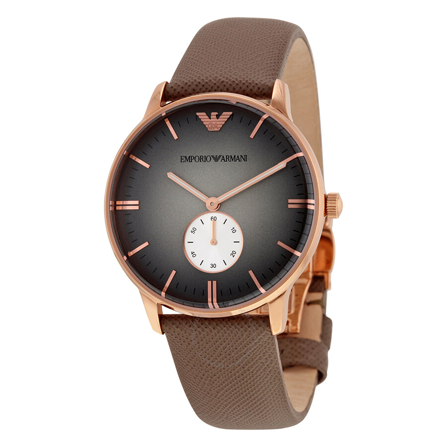 Emporio Armani Classic Grey Dial Grey Leather Quartz Mens Watch AR1723