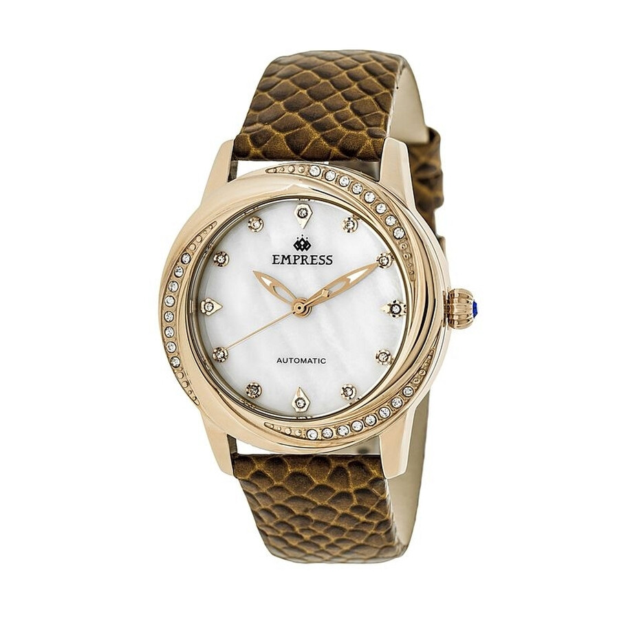 Empress Ayala White Mother of Pearl Crystal Dial Brown Leather Strap Automat..