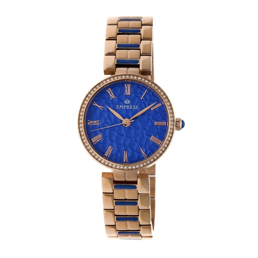 Empress Catherine Blue Hammered Designed Dial Rose Gold-tone Steel Case Auto..