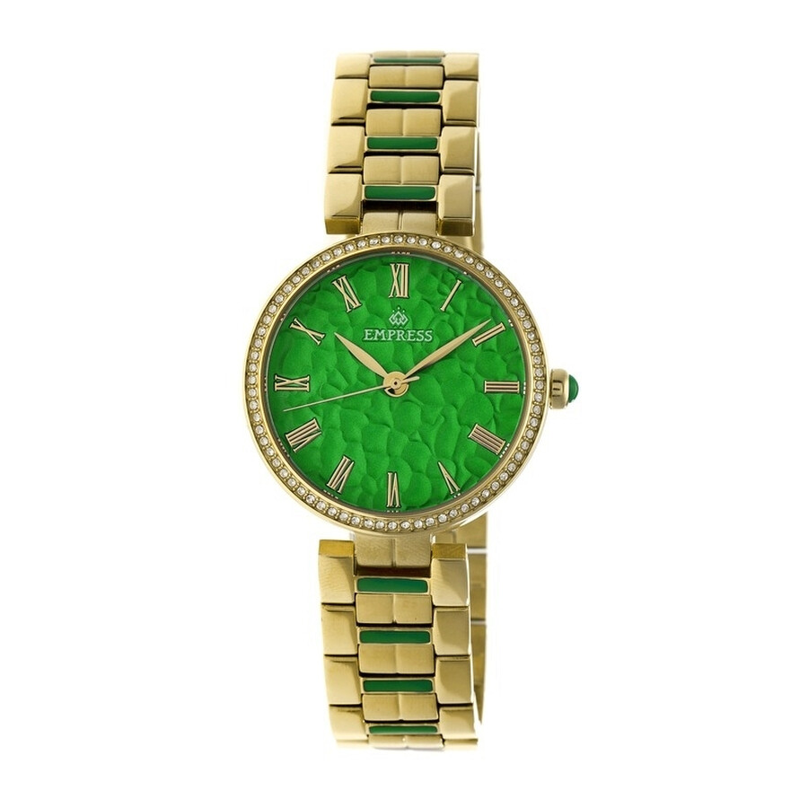Empress Catherine Green Hammered Designed Dial Gold-tone Steel Case Automati..