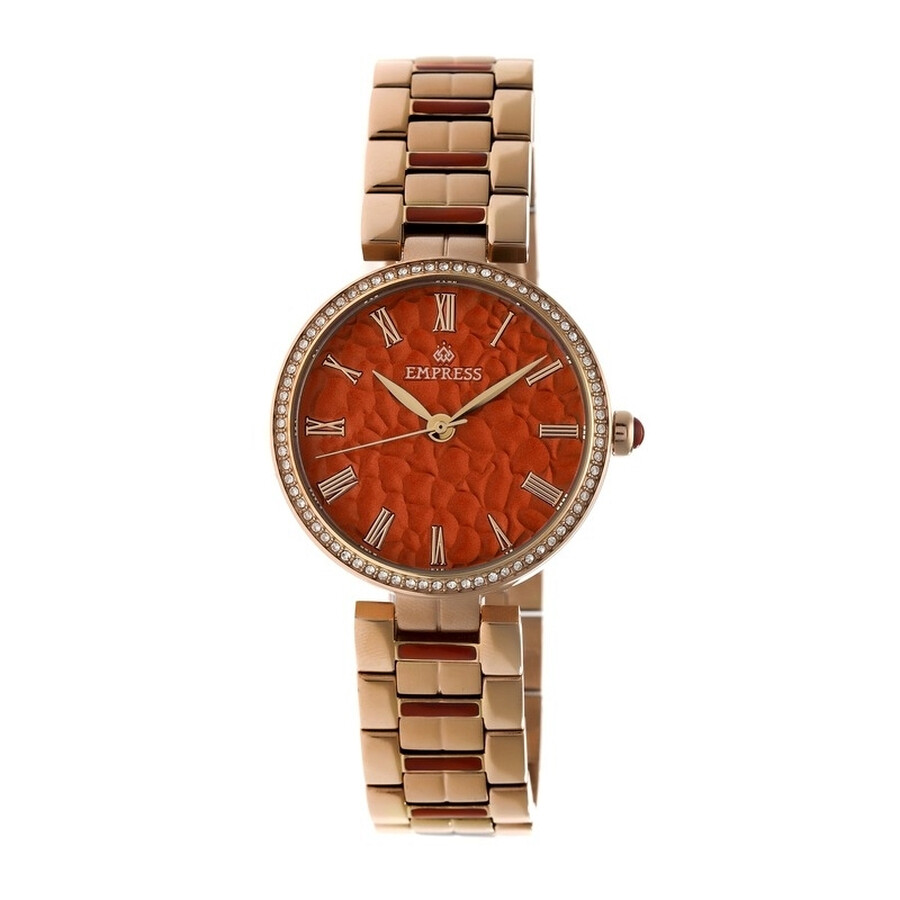 Empress Catherine Red Hammered Designed Dial Rose Gold-tone Steel Case Autom..