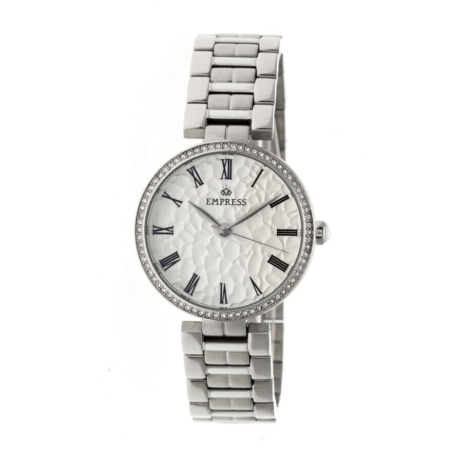 Empress Catherine Silver Hammered Designed Dial Steel Case Automatic Ladies ..