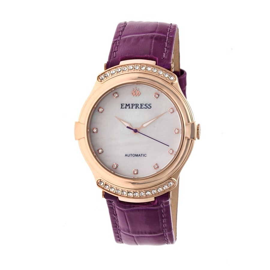 Empress Francesca White Mother of Pearl Dial Purple Leather Strap Automatic ..