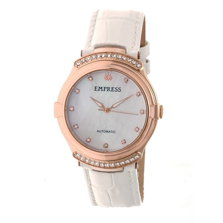 Empress Francesca White Mother of Pearl Dial White Leather Strap Automatic L..