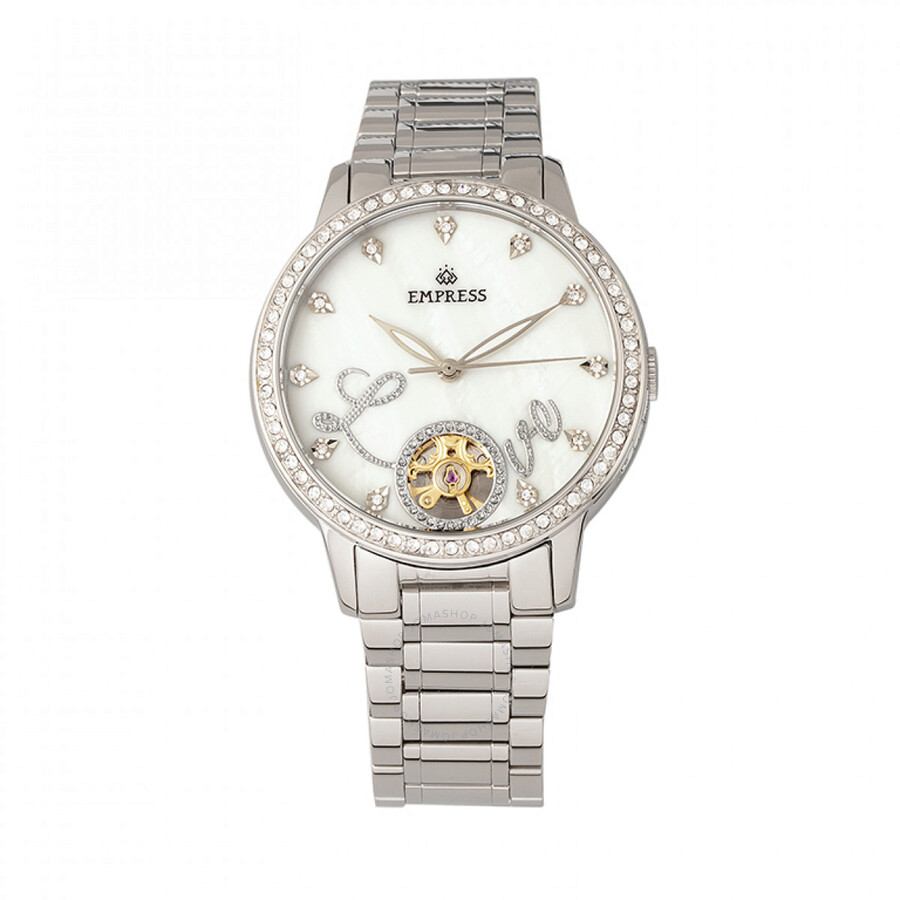 Empress Quinn Automatic Crystal White Mother of Pearl Dial Ladies Watch EMPE..