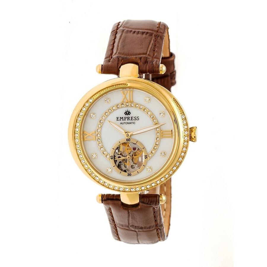 Empress Stella White Semi-Skeleton Dial Gold-tone Case Brown Leather Strap A..