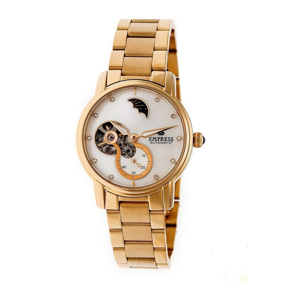 Empress Theodora White Mother of Pearl Dial Rose Gold-tone Ladies Watch EM1204