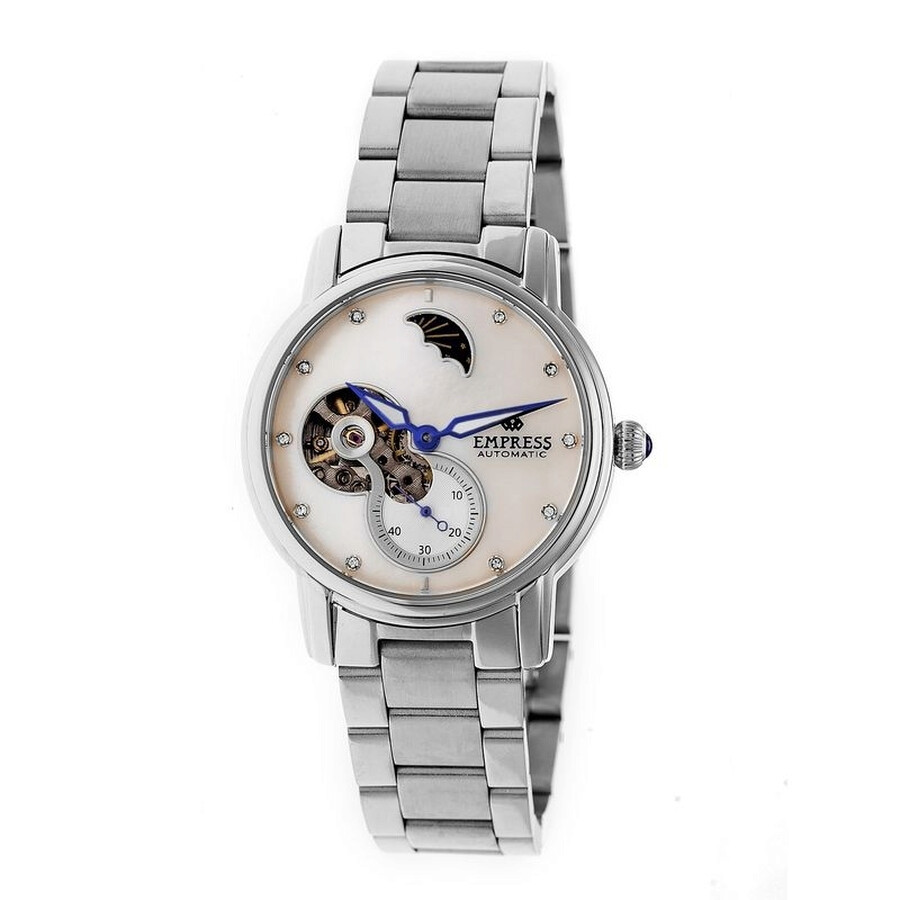 Empress Theodora White Mother of Pearl Moonphase Dial Automatic Ladies Watch..