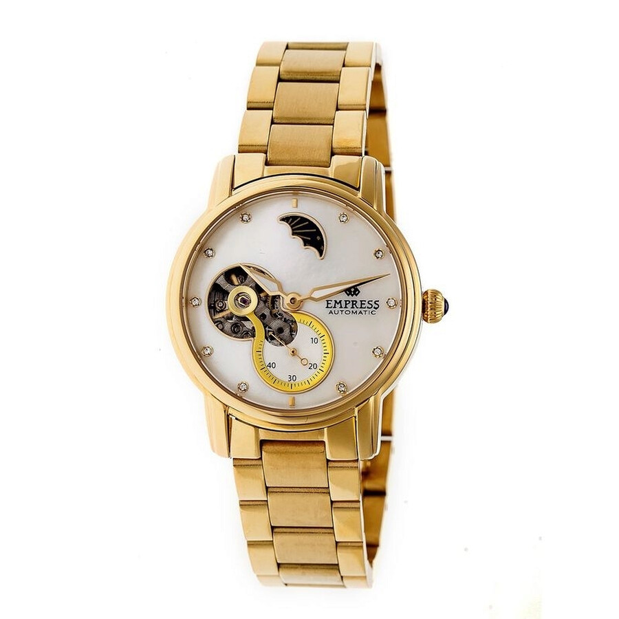 Empress Theodora White Mother of Pearl Moonphase Dial Gold-tone Case Ladies Watch EM1203