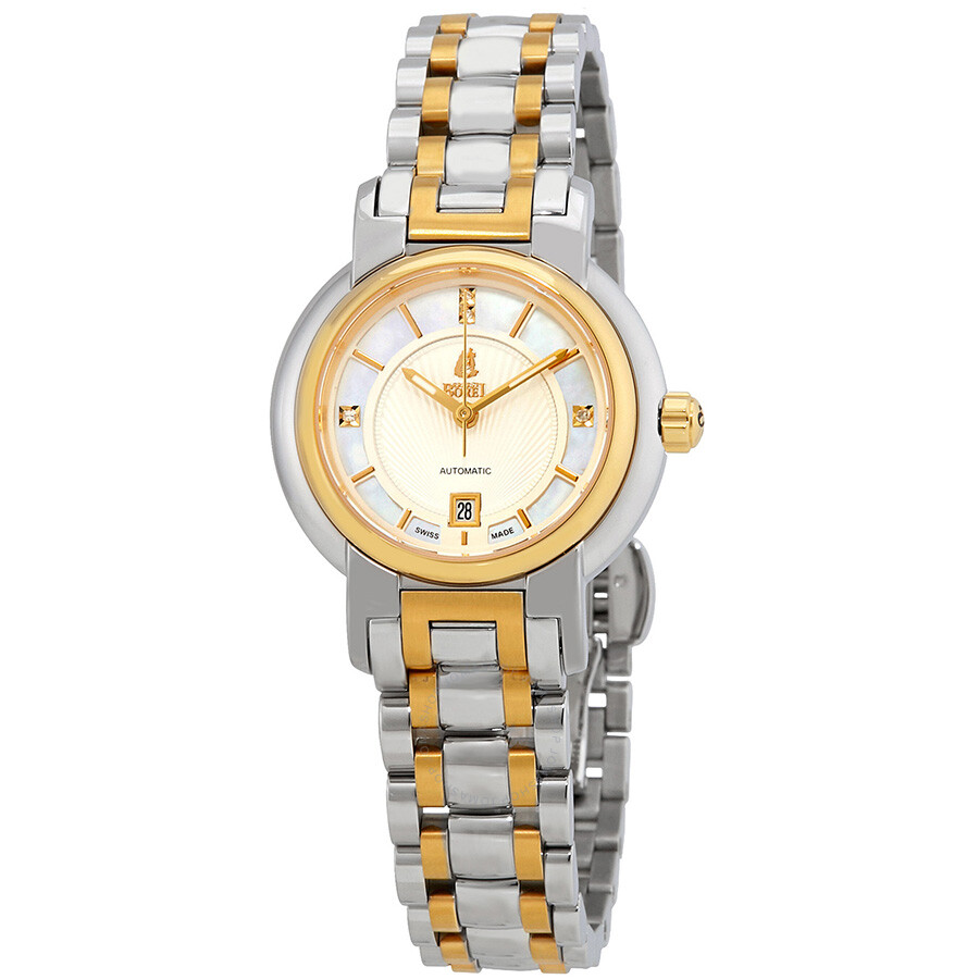 Ernest Borel Romance White Mother Of Pearl Dial Ladies Two Tone Watch LB1856..