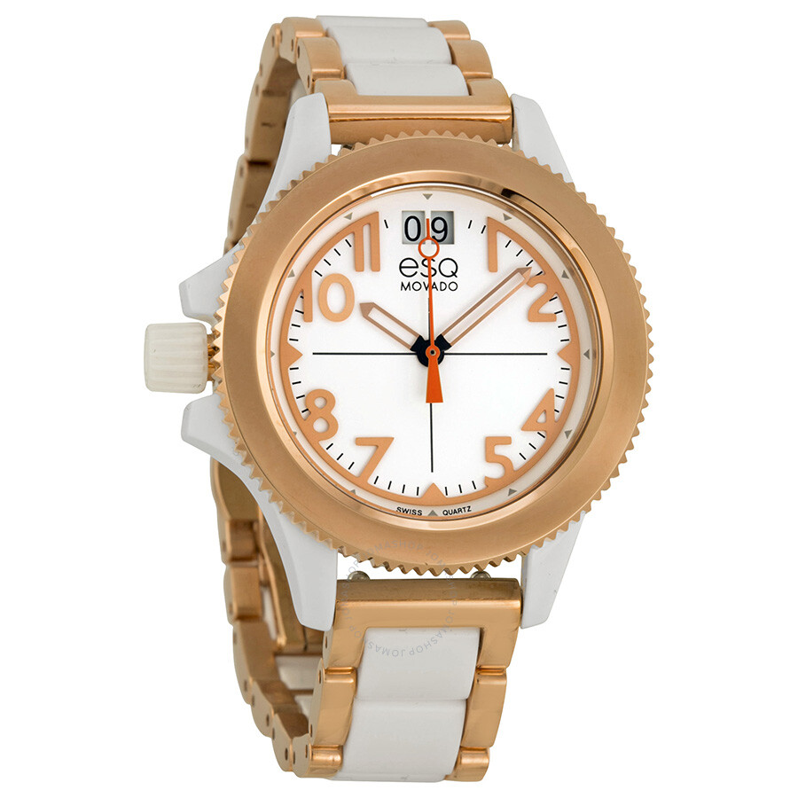 ESQ by Movado Fusion White Dial Two-Tone Rose Gold Ion-plated Ladies Watch 07101403