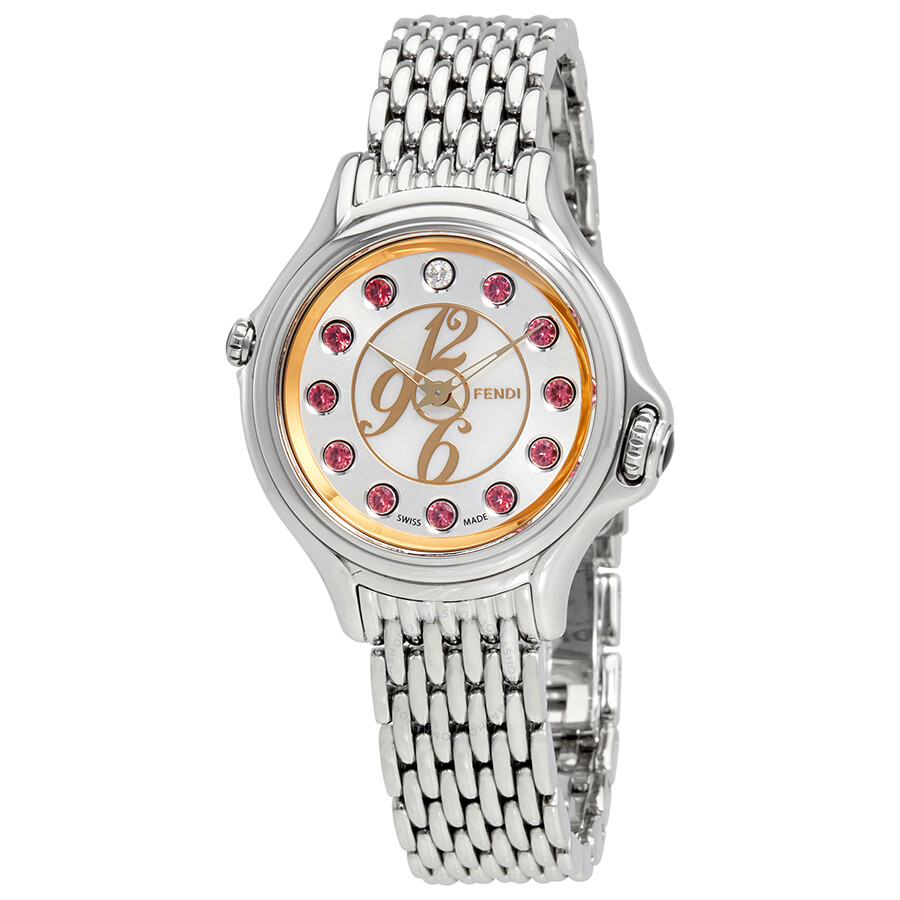 Fendi Crazy Carats White Mother of Pearl Dial Ladies Stainless Steel Watch F..