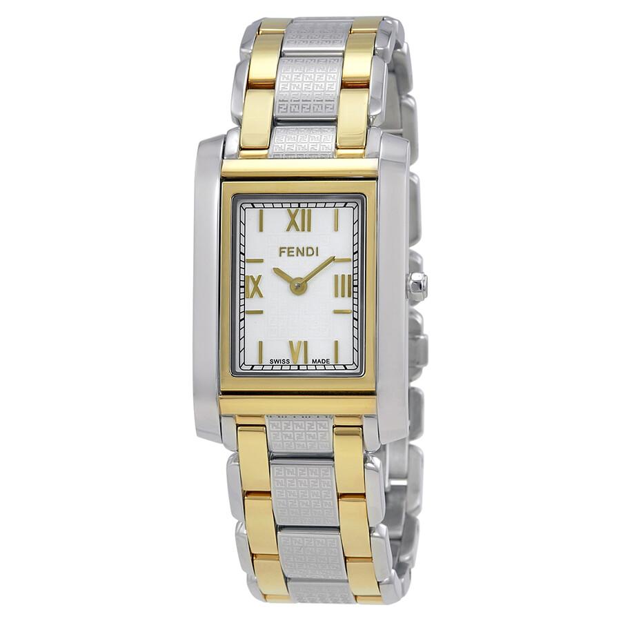 Fendi Loop White Dial Ladies Two Tone Rectangular Watch F766340
