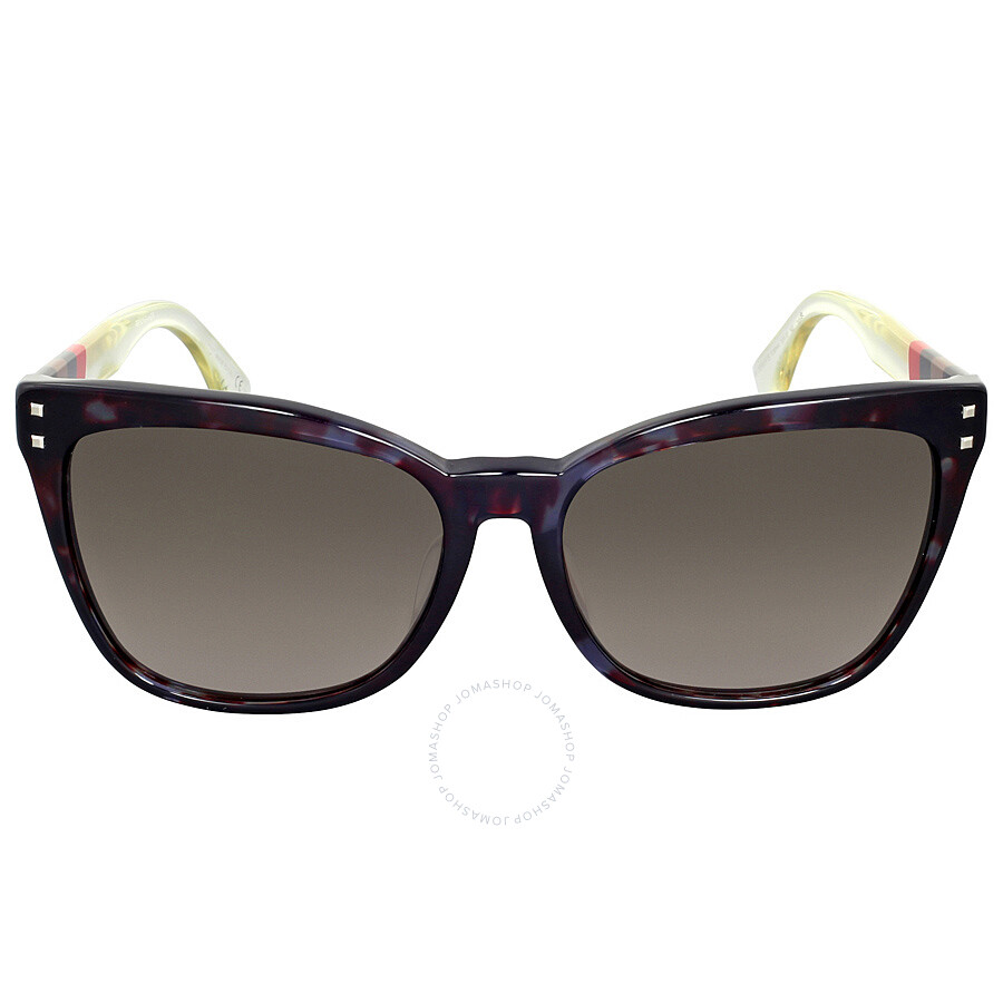 fendi fendi pequin grey havana asia fit cat eye sunglasses