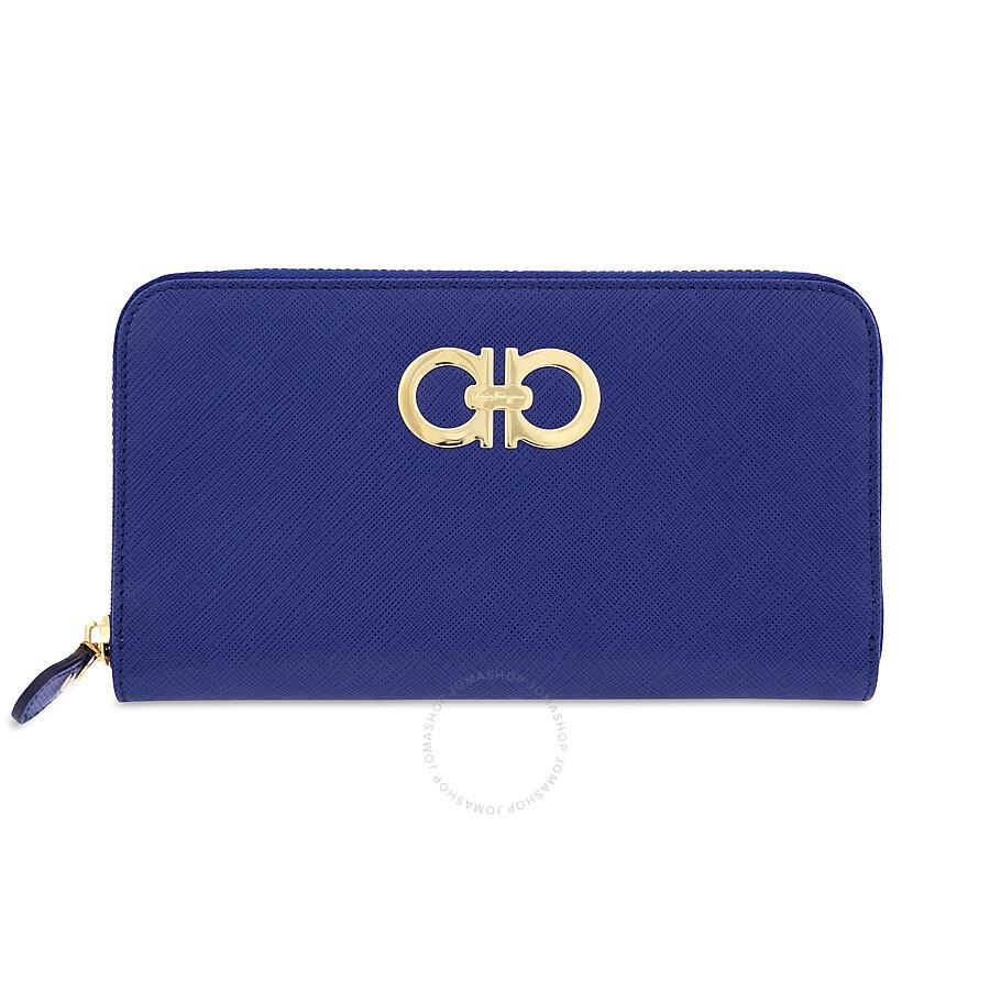 Ferragamo Gancio Zip Around Leather Wallet- Ocean Blue at Jomashop.com & JomaDeals.com