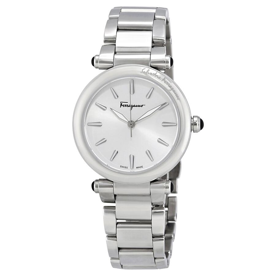 e5962b30435 idillio-silver-dial-ladies-stainless-steel-watch by ferragamo