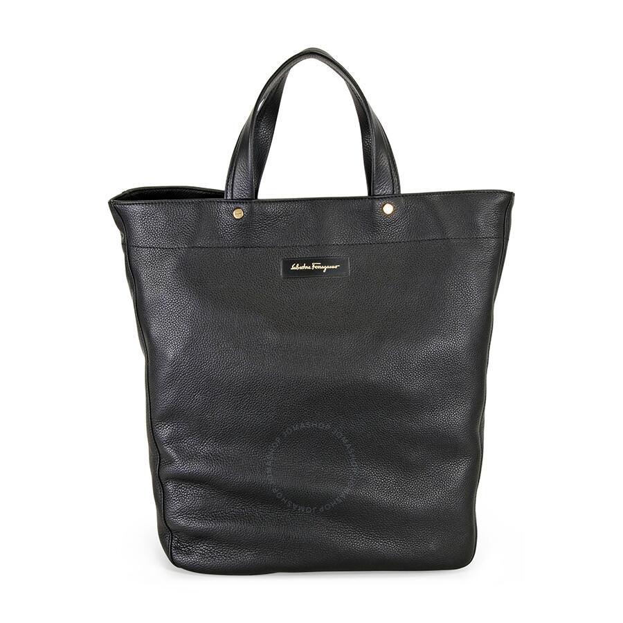Ferragamo Leather Tote Bag - Black at Jomashop.com & JomaDeals.com