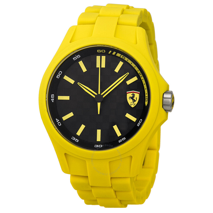 watch black and ferrari en with stainless steel rubber yellow strap