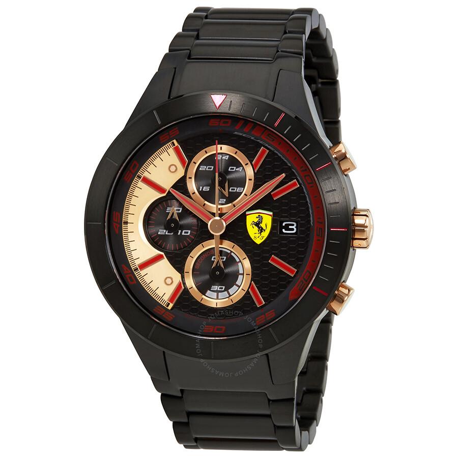 Ferrari Red Rev Evo  Chronograph Black Dial Mens Watch 830305