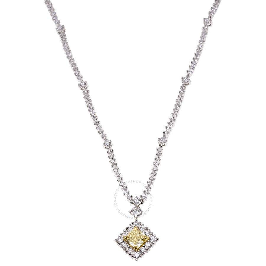 Fine Diamond Necklace with A Yellow Radiant Diamond 5.71 CT