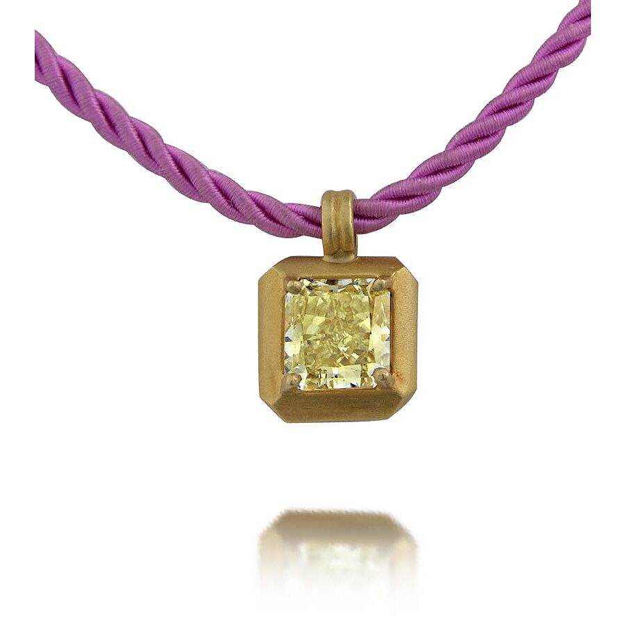 Fine Yellow Diamond  Pendant with 1 Pink cord 1.23 CT