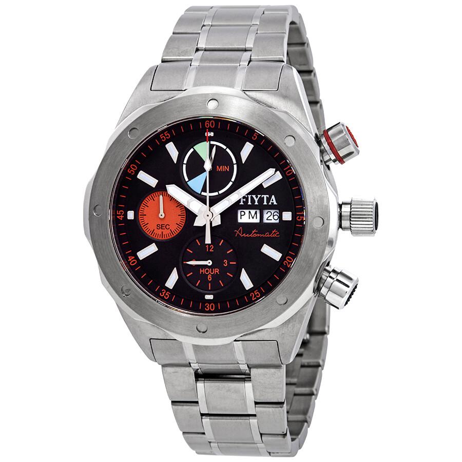 Fiyta Aeronautics Chronograph Automatic Black Dial Mens Watch GA8500.HBH