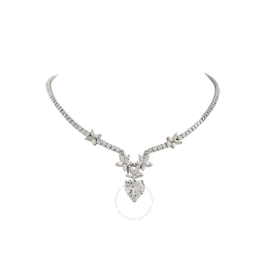 Floral Diamond Necklace with Heart Shape Drop 11.12 CT