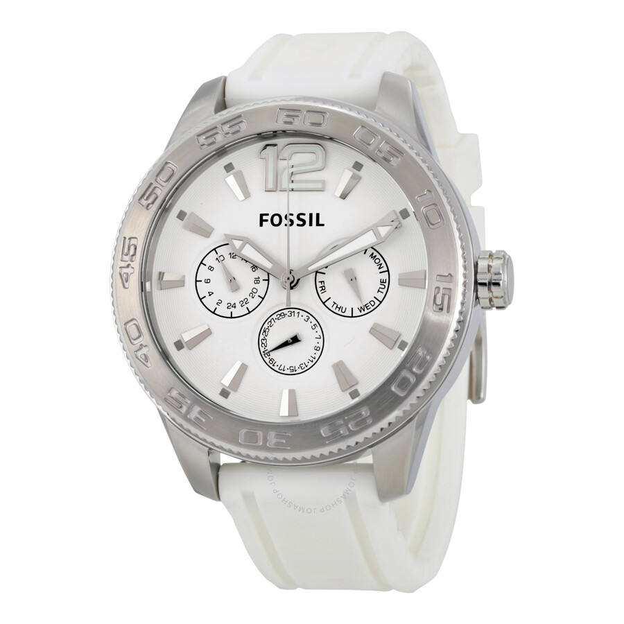 chronograph watches quartz rubber white watch fossil products men