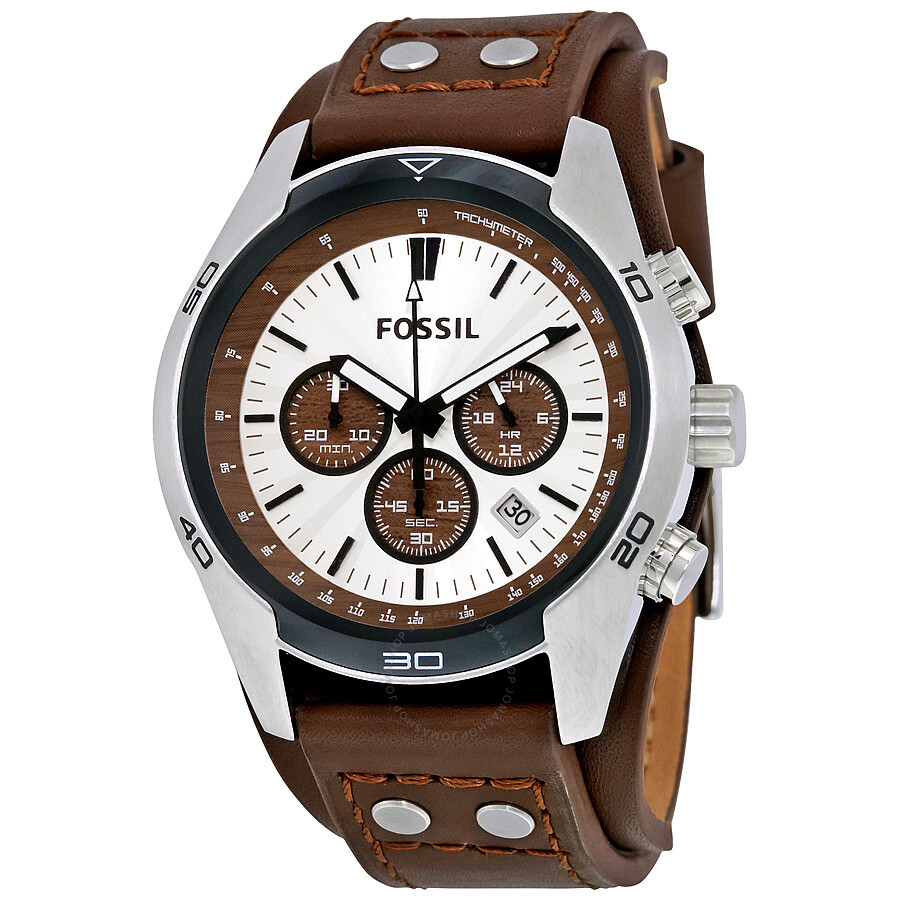 Fossil coachman chronograph cuff leather men 39 s watch ch2565 coachman fossil watches jomashop for Leather watch for men