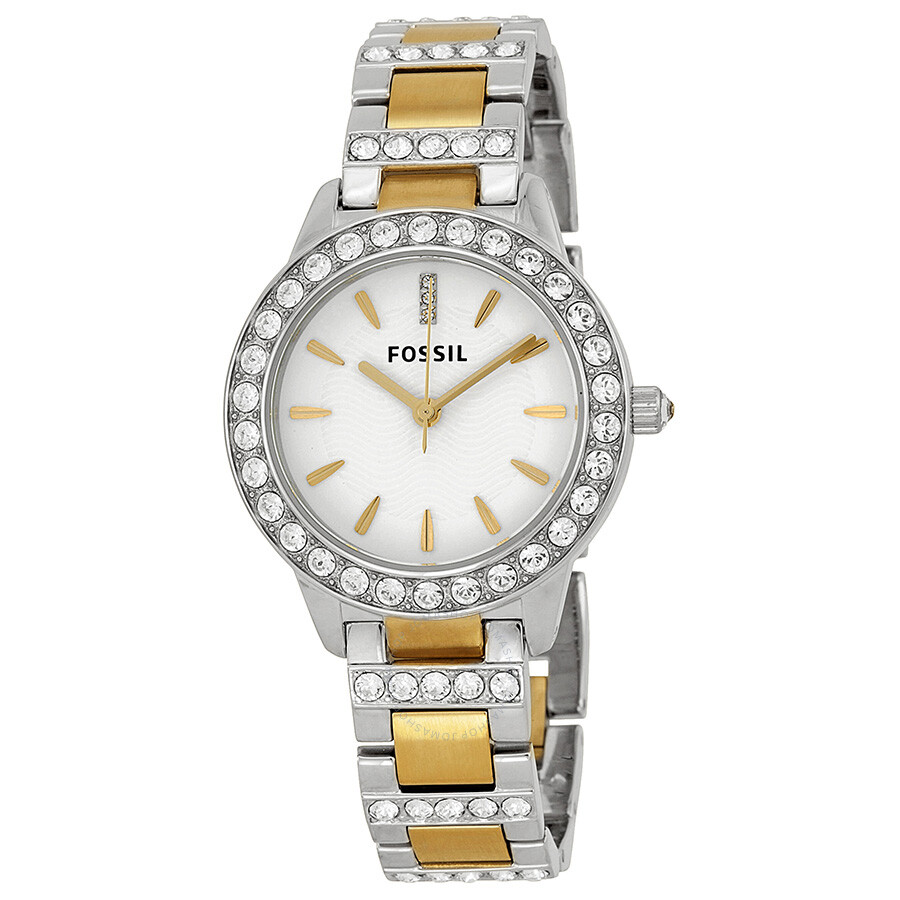 Fossil crystal white dial two tone ladies watch es2409 jesse fossil watches jomashop for Crystal ladies watch