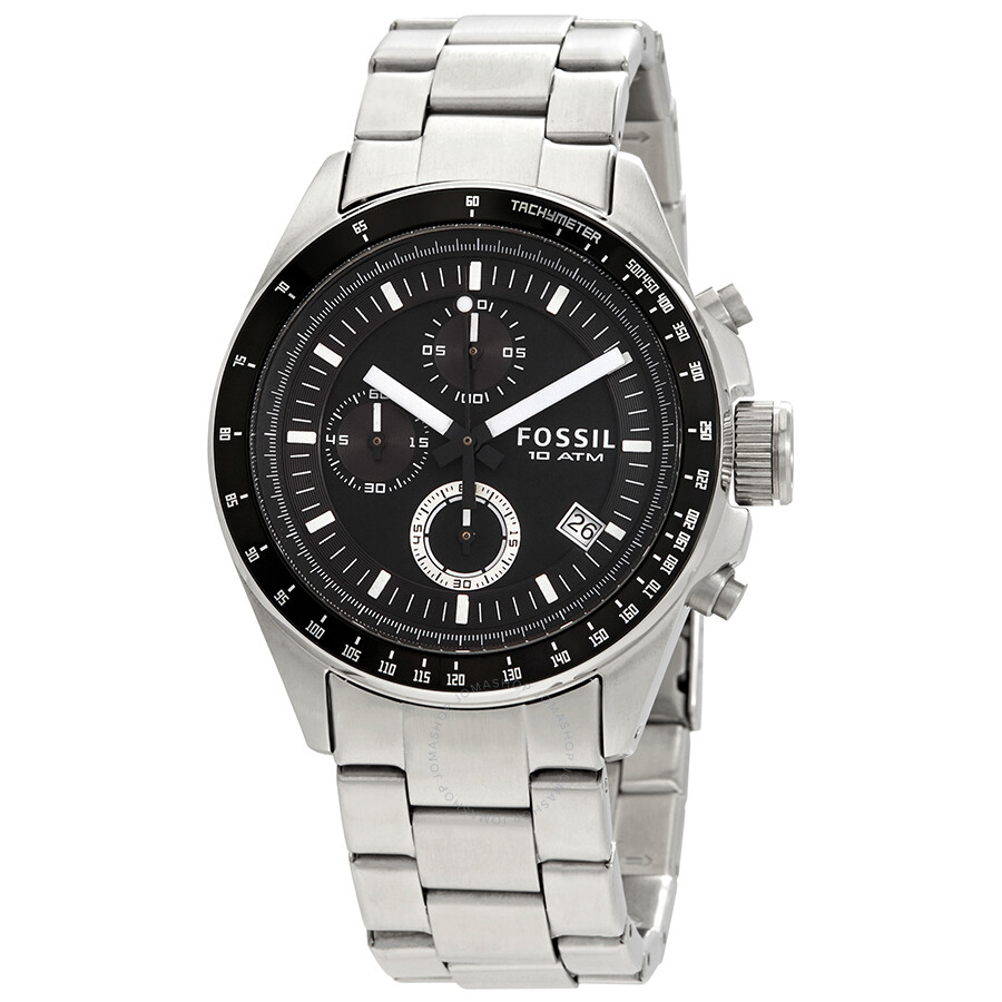 Black Fossil Watches Online United Kingdom Jr1401 Nate Chronograph Stainless Steel Watch Male Decker Dial Mens Ch2600ie