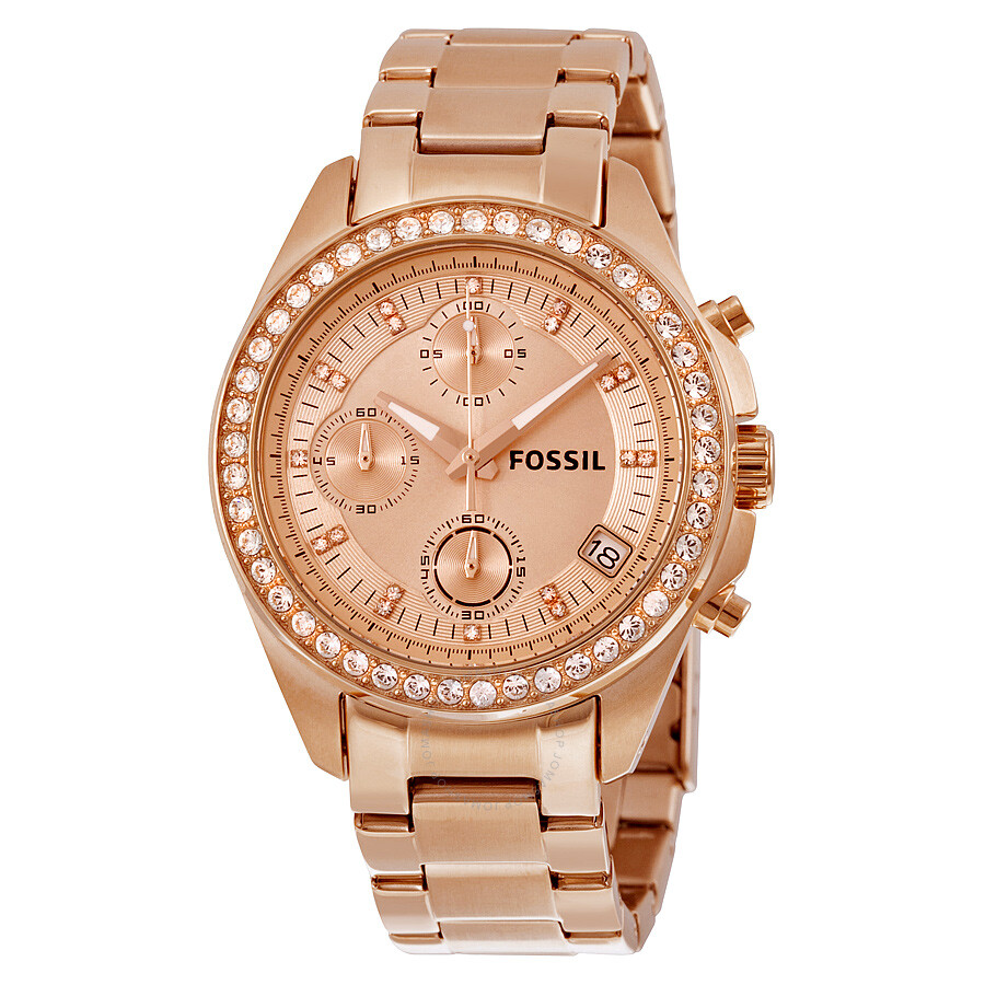 Fossil Decker Chronograph Rose Dial Rose Gold-tone