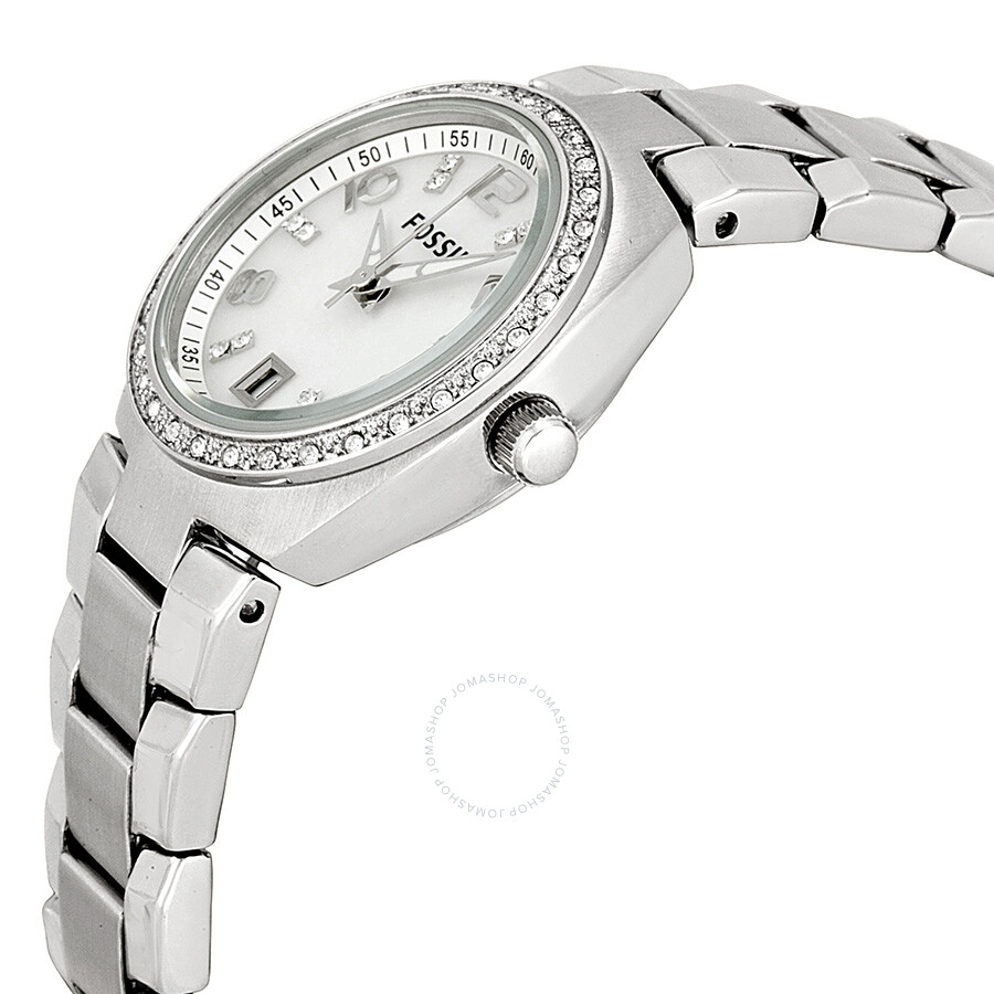 Fossil Platinum Watch Bq1444 Silver Glitz Mother Of Pearl Analog Dial Ladies 900x900