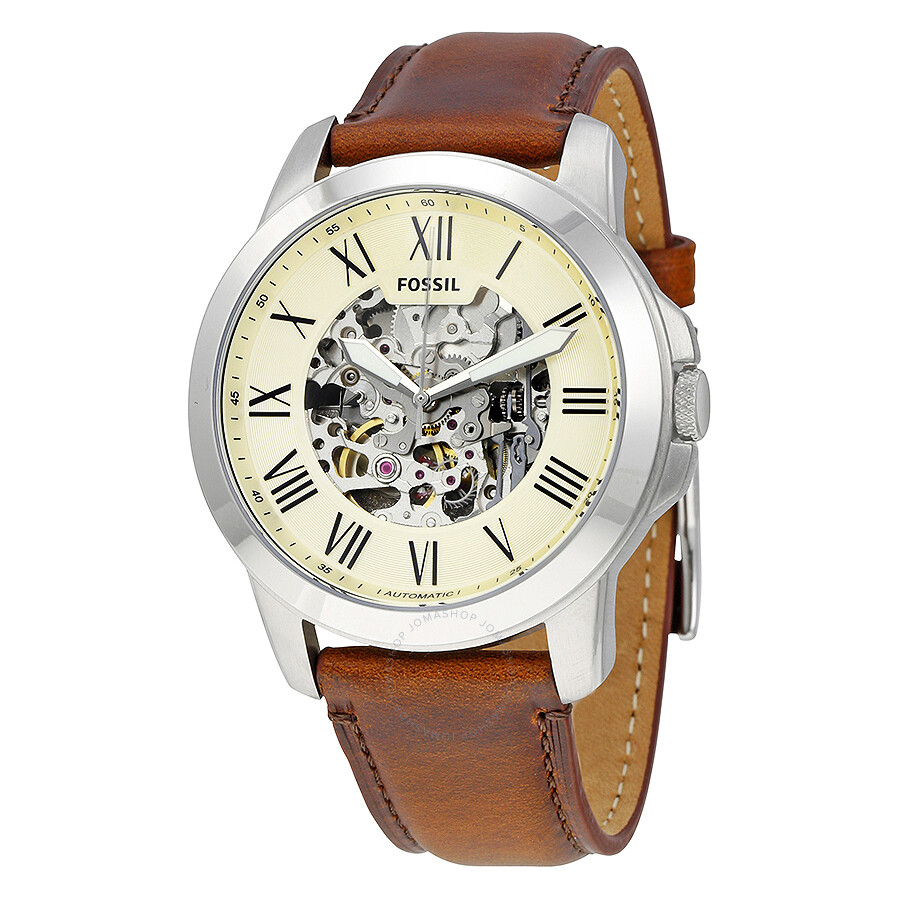Fossil grant automatic beige skeleton dial men 39 s watch me3099 grant fossil watches jomashop for Fossil watches