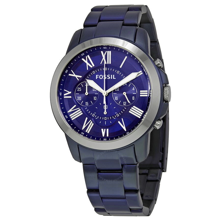fossil male fossil grant chronograph blue dial mens watch fs5230