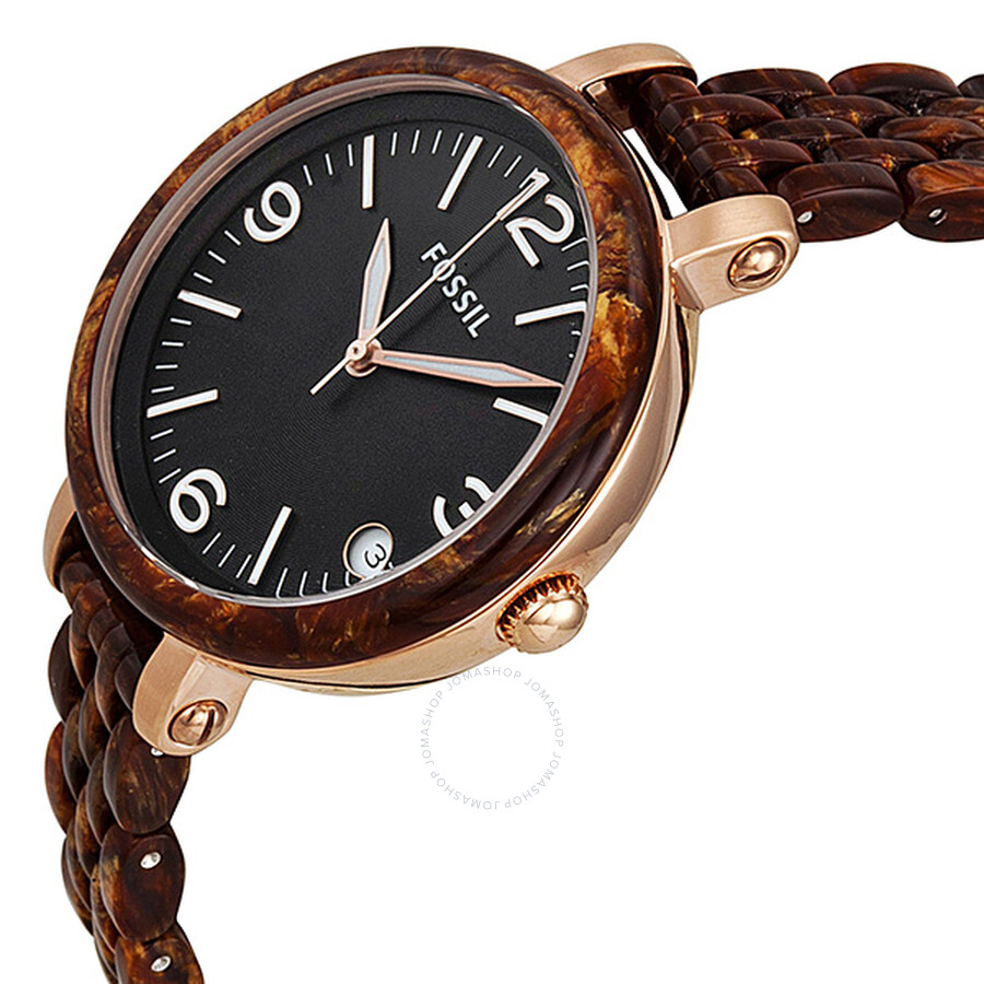 Fossil heather black dial burlwood resin mid size ladies watch jr1410 heather fossil for Black resin ladies watch