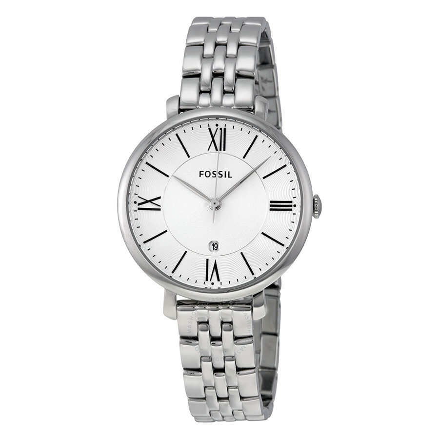 fossil dial jacqueline silver watches steel ladies stainless watch