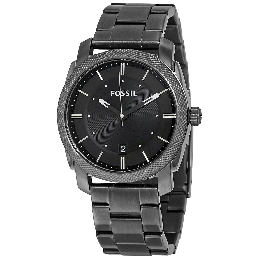 Fossil machine black dial smoke ip stainless steel men 39 s watch fs4774 machine fossil for Stainless watches