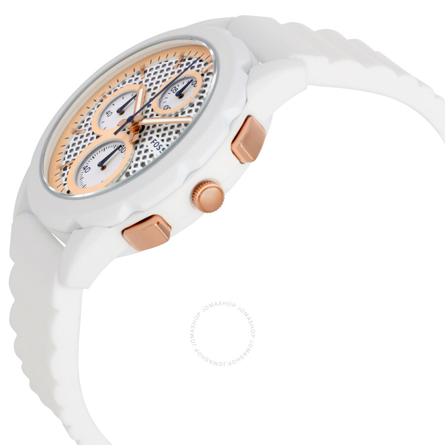 Fossil Modern Pursuit Chronograph White Silicone Watch Es 39817 Jam Tangan Wanita Original Es4222 Chrono Dial Ladies Es3981