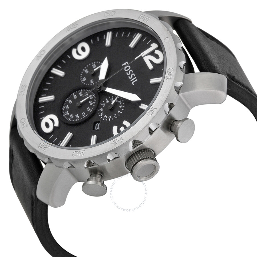 Nate Chronograph Black Leather Itravelpages Fossil Jr1510 Original Dial Mens Watch Jr1436