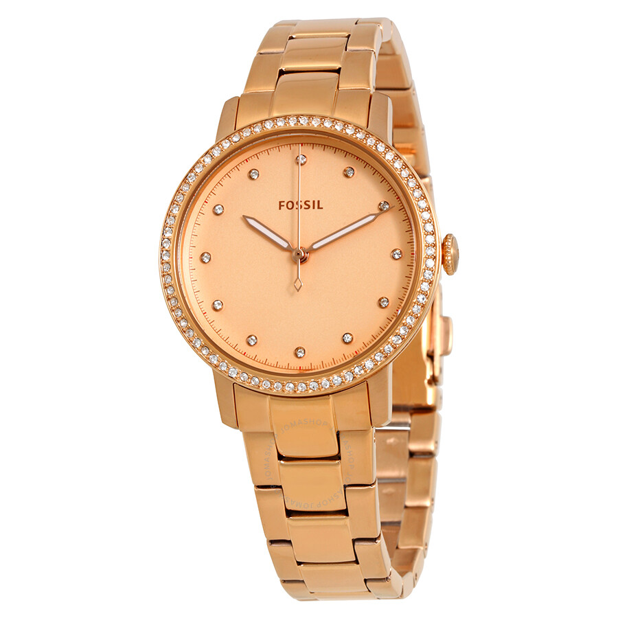 Fossil neely rose gold dial crystal ladies watch es4288 fossil watches jomashop for Crystal ladies watch